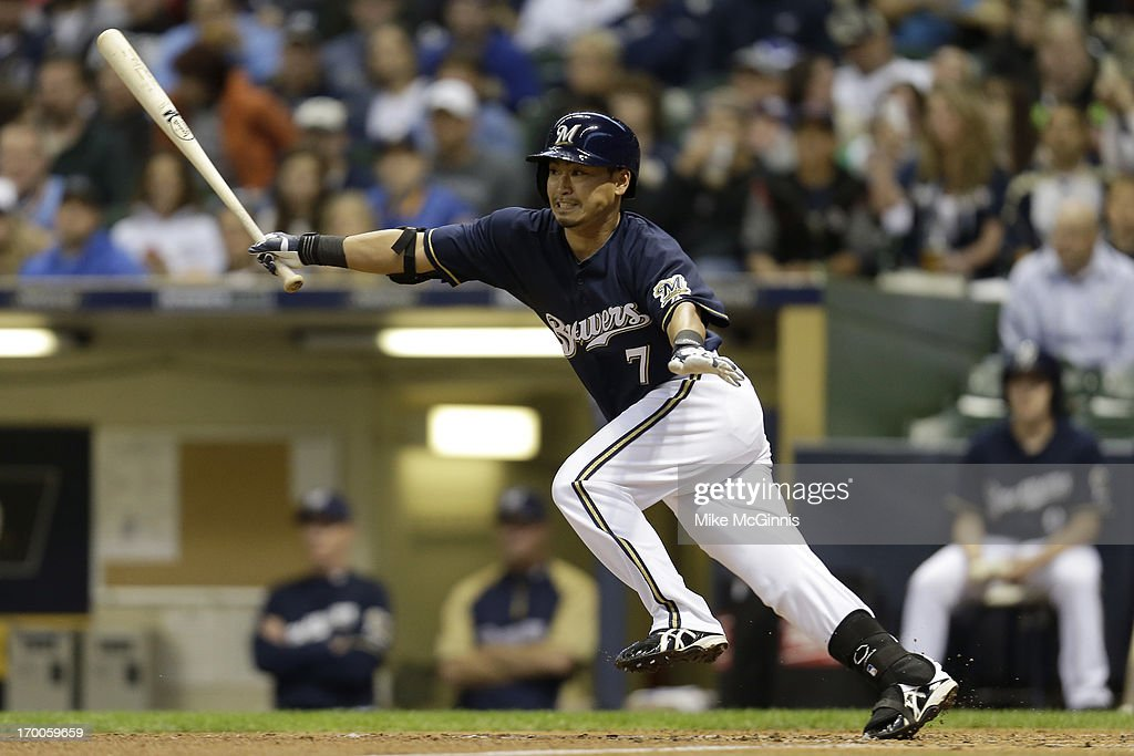 <a gi-track='captionPersonalityLinkClicked' href=/galleries/search?phrase=Norichika+Aoki&family=editorial&specificpeople=850957 ng-click='$event.stopPropagation()'>Norichika Aoki</a> #7 of the Milwaukee Brewers grounds out in the bottom of the first inning against the Philadelphia Phillies during the game at Miller Park on June 06, 2013 in Milwaukee, Wisconsin.