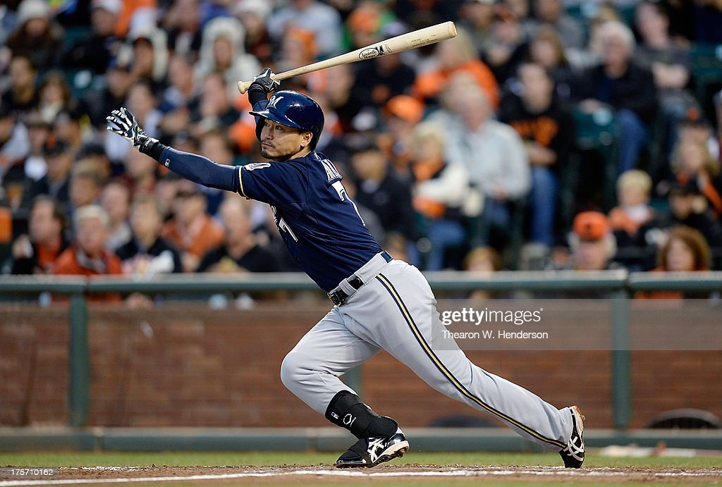 <a gi-track='captionPersonalityLinkClicked' href=/galleries/search?phrase=Norichika+Aoki&family=editorial&specificpeople=850957 ng-click='$event.stopPropagation()'>Norichika Aoki</a> #7 of the Milwaukee Brewers hits a double in the fourth inning against the San Francisco Giants at AT&T Park on August 6, 2013 in San Francisco, California.