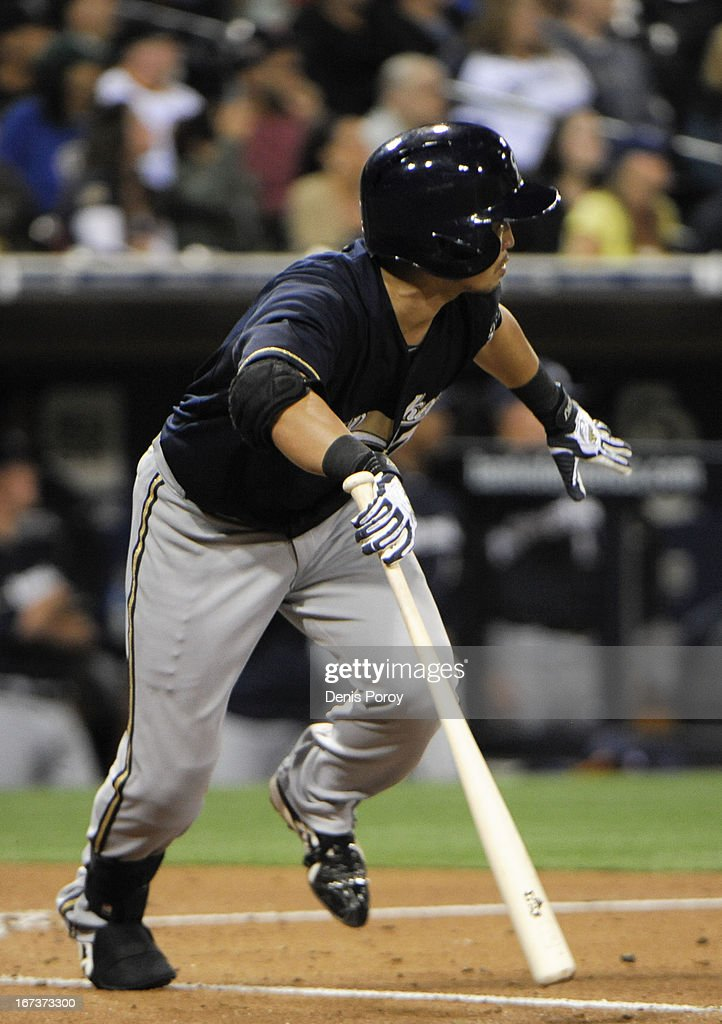 <a gi-track='captionPersonalityLinkClicked' href=/galleries/search?phrase=Norichika+Aoki&family=editorial&specificpeople=850957 ng-click='$event.stopPropagation()'>Norichika Aoki</a> #7 of the Milwaukee Brewers hits a single during the third inning of a baseball game against the San Diego Padres at Petco Park on April 24, 2013 in San Diego, California.