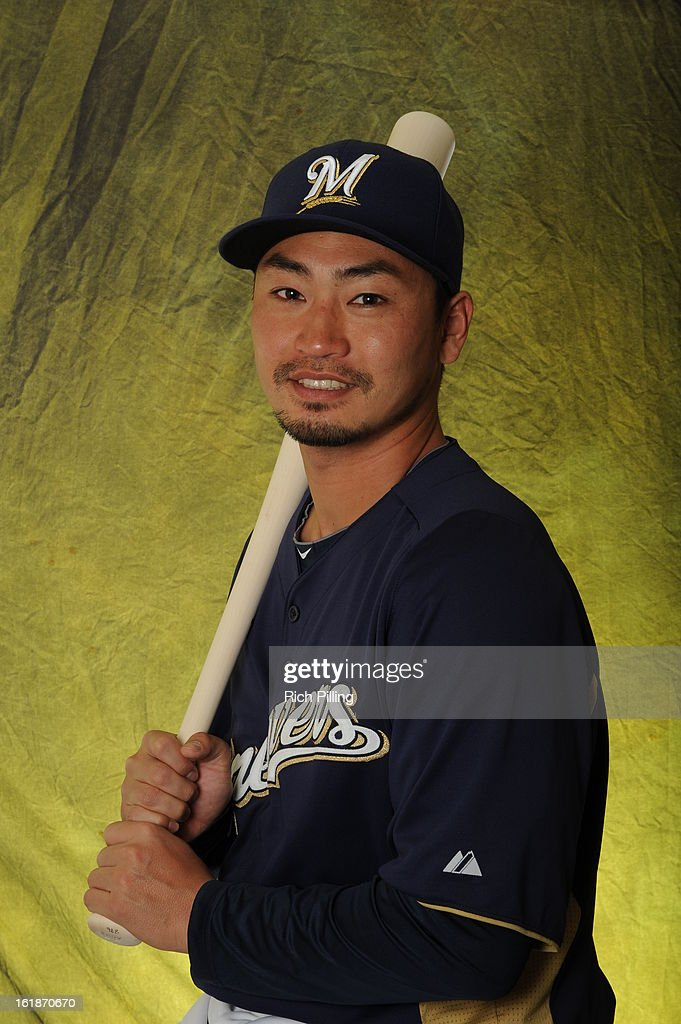 Norichika Aoki #7 of the Milwaukee Brewers is seen during MLB photo day on February 17, 2013 at the Maryvale Baseball Park in Maryvale, Arizona.