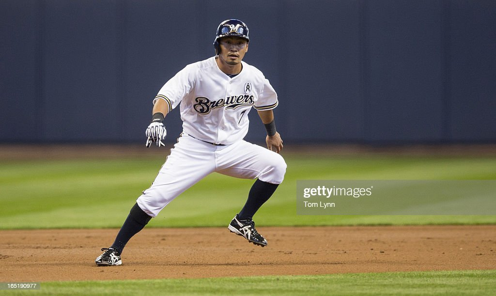 <a gi-track='captionPersonalityLinkClicked' href=/galleries/search?phrase=Norichika+Aoki&family=editorial&specificpeople=850957 ng-click='$event.stopPropagation()'>Norichika Aoki</a> #7 of the Milwaukee Brewers leads off of first against the Colorado Rockies during the first inning on opening day at Miller Park on April 1, 2013 in Milwaukee, Wisconsin.
