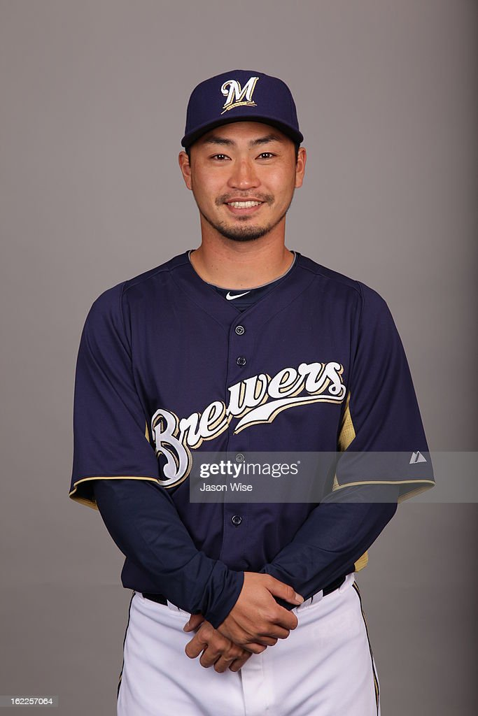 Norichika Aoki #7 of the Milwaukee Brewers poses during Photo Day on February 17, 2013 at Maryvale Baseball Park in Phoenix, Arizona.