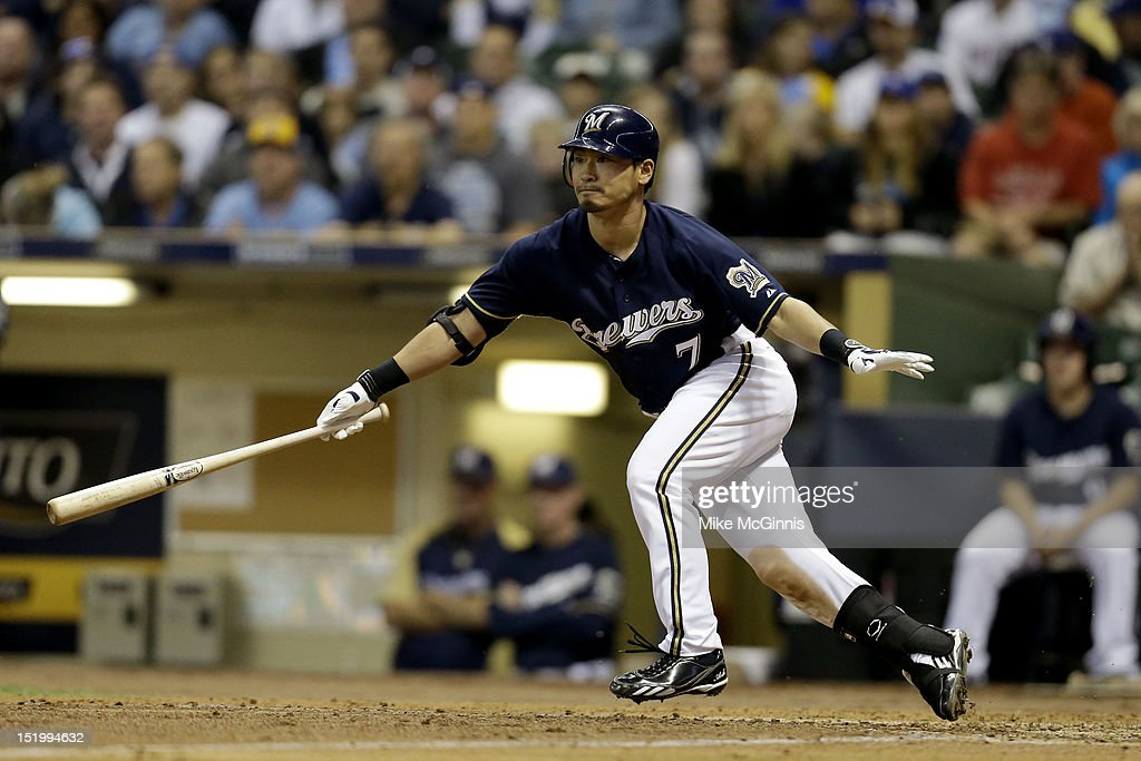 <a gi-track='captionPersonalityLinkClicked' href=/galleries/search?phrase=Norichika+Aoki&family=editorial&specificpeople=850957 ng-click='$event.stopPropagation()'>Norichika Aoki</a> #7 of the Milwaukee Brewers reaches on a fielder's choice in the bottom of the second inning against the New York Mets at Miller Park on September 14, 2012 in Milwaukee, Wisconsin.