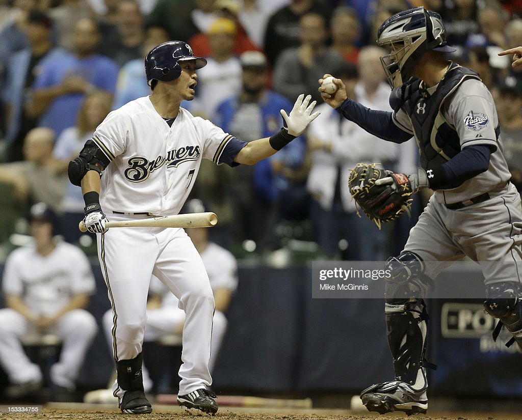 <a gi-track='captionPersonalityLinkClicked' href=/galleries/search?phrase=Norichika+Aoki&family=editorial&specificpeople=850957 ng-click='$event.stopPropagation()'>Norichika Aoki</a> #7 of the Milwaukee Brewers reacts after striking out in the bottom of the ninth inning against the San Diego Padres at Miller Park on October 3, 2012 in Milwaukee, Wisconsin.