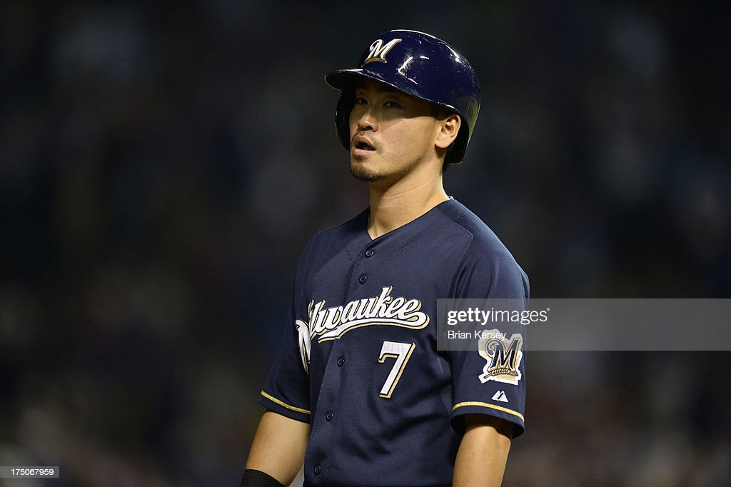 <a gi-track='captionPersonalityLinkClicked' href=/galleries/search?phrase=Norichika+Aoki&family=editorial&specificpeople=850957 ng-click='$event.stopPropagation()'>Norichika Aoki</a> #7 of the Milwaukee Brewers stands on third base during the ninth inning of Game Two of a double header against the Chicago Cubs at Wrigley Field on July 30, 2013 in Chicago, Illinois. Aoki came into the game as a pinch runner. The Brewers defeated the Cubs 3-2.