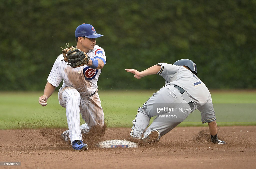 <a gi-track='captionPersonalityLinkClicked' href=/galleries/search?phrase=Norichika+Aoki&family=editorial&specificpeople=850957 ng-click='$event.stopPropagation()'>Norichika Aoki</a> #7 of the Milwaukee Brewers (R) steals second base as second baseman <a gi-track='captionPersonalityLinkClicked' href=/galleries/search?phrase=Darwin+Barney&family=editorial&specificpeople=537975 ng-click='$event.stopPropagation()'>Darwin Barney</a> #15 of the Chicago Cubs catches the throw from the catcher during the seventh inning at Wrigley Field on July 30, 2013 in Chicago, Illinois.