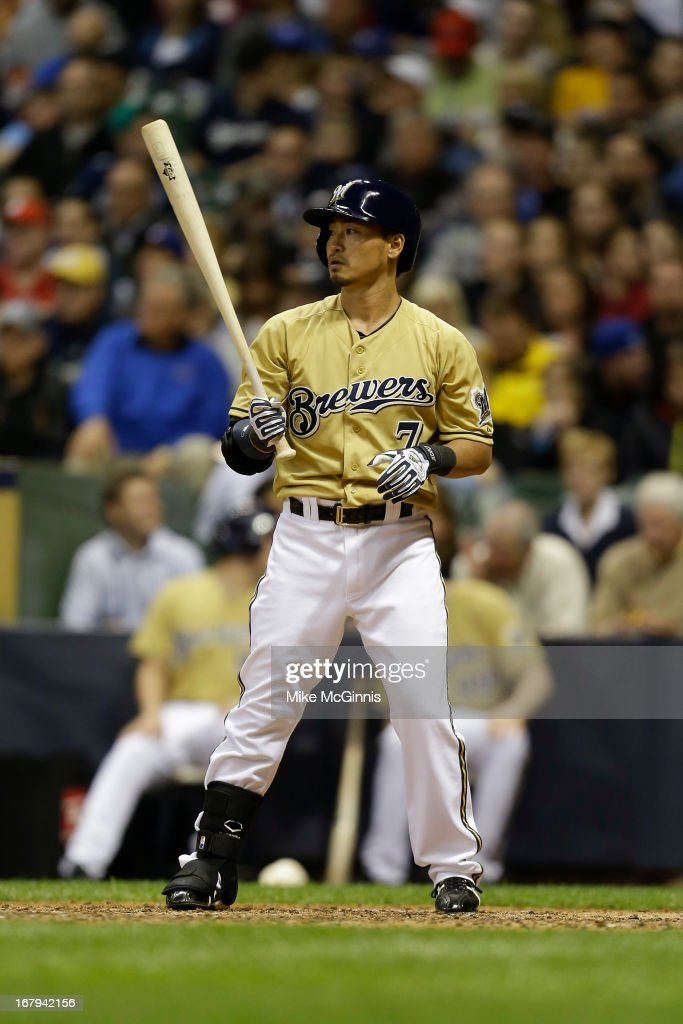 <a gi-track='captionPersonalityLinkClicked' href=/galleries/search?phrase=Norichika+Aoki&family=editorial&specificpeople=850957 ng-click='$event.stopPropagation()'>Norichika Aoki</a> #7 of the Milwaukee Brewers steps to the plate in the bottom of the fifth inning against the St. Louis Cardinals at Miller Park on May 02, 2013 in Milwaukee, Wisconsin.