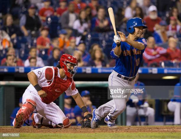 Norichika Aoki of the New York Mets grounds out to end the game as Jorge Alfaro of the Philadelphia Phillies looks on in the top of the ninth at...