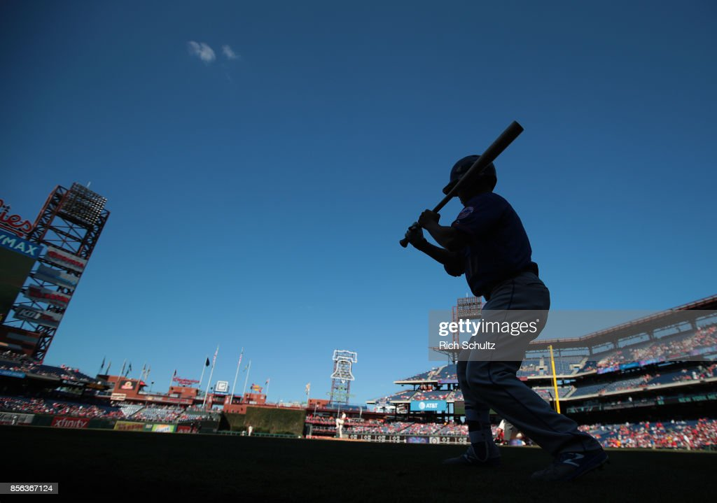 Norichika Aoki #11 of the New York Mets takes his cuts in the on deck circle before his first at bat against the Philadelphia Phillies during the first inning of a game at Citizens Bank Park on October 1, 2017 in Philadelphia, Pennsylvania.
