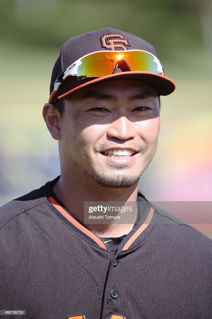 Norichika Aoki of the San Francisco Giants smiles during the spring training game between the San Francisco Giants and Los Angeles Dodgers at...