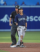 Norichika Aoki of the Seattle Mariners appeals for a review pleading that he was safe with a double at second base after he was initially called out...