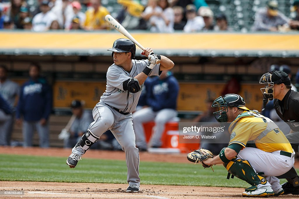 Norichika Aoki #8 of the Seattle Mariners at bat against the Oakland Athletics during the first inning at the Oakland Coliseum on May 4, 2016 in Oakland, California.