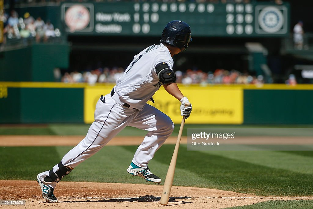 Norichika Aoki of the Seattle Mariners doubles in the third inning against the New York Yankees at Safeco Field on August 24 2016 in Seattle...
