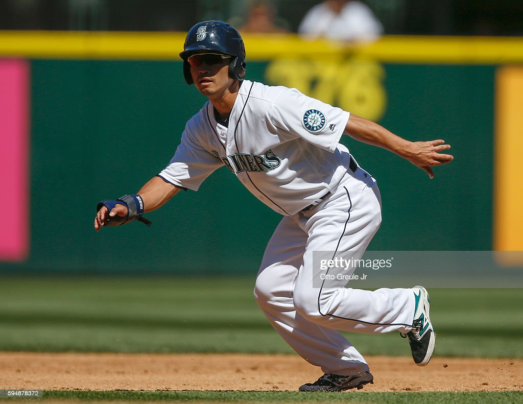 Norichika Aoki of the Seattle Mariners leads off of second base in the third inning against the New York Yankees at Safeco Field on August 24 2016 in...