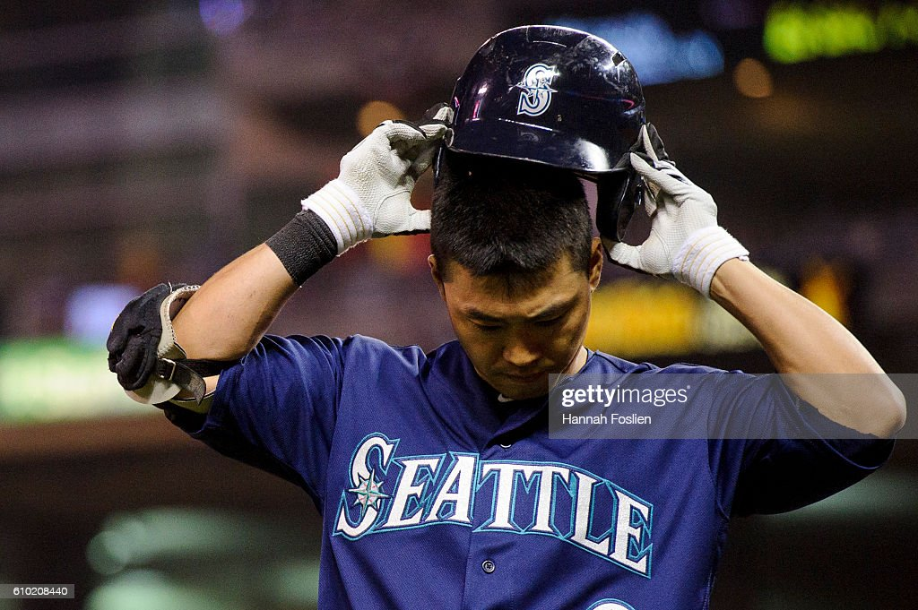 Norichika Aoki #8 of the Seattle Mariners reacts after grounding out to first base in an at bat against the Minnesota Twins during the fifth inning of the game on September 24, 2016 at Target Field in Minneapolis, Minnesota. The Twins defeated the Mariners 3-2.