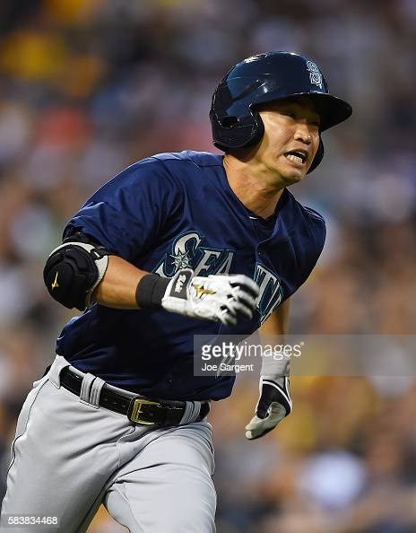 Norichika Aoki of the Seattle Mariners runs to first base during the sixth inning during interleague play against the Pittsburgh Pirates on July 27...