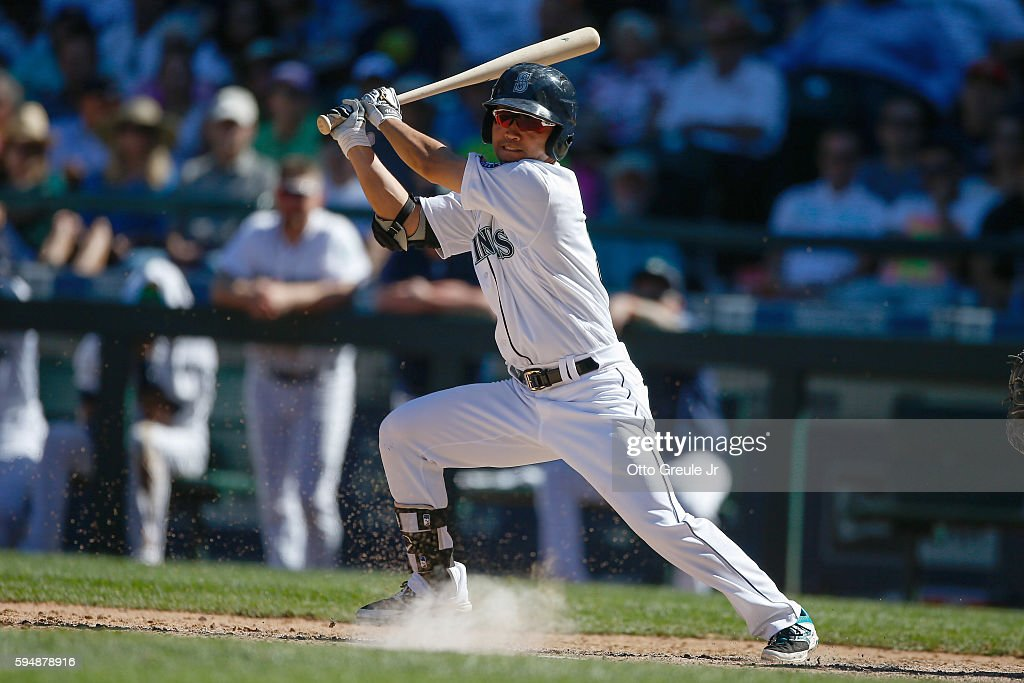 Norichika Aoki of the Seattle Mariners singles in the eighth inning against the New York Yankees at Safeco Field on August 24 2016 in Seattle...