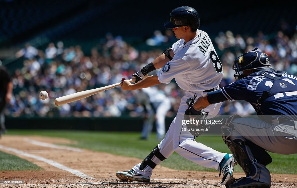 <a gi-track='captionPersonalityLinkClicked' href=/galleries/search?phrase=Norichika+Aoki&family=editorial&specificpeople=850957 ng-click='$event.stopPropagation()'>Norichika Aoki</a> #8 of the Seattle Mariners singles in the second inning against the San Diego Padres at Safeco Field on May 31, 2016 in Seattle, Washington.
