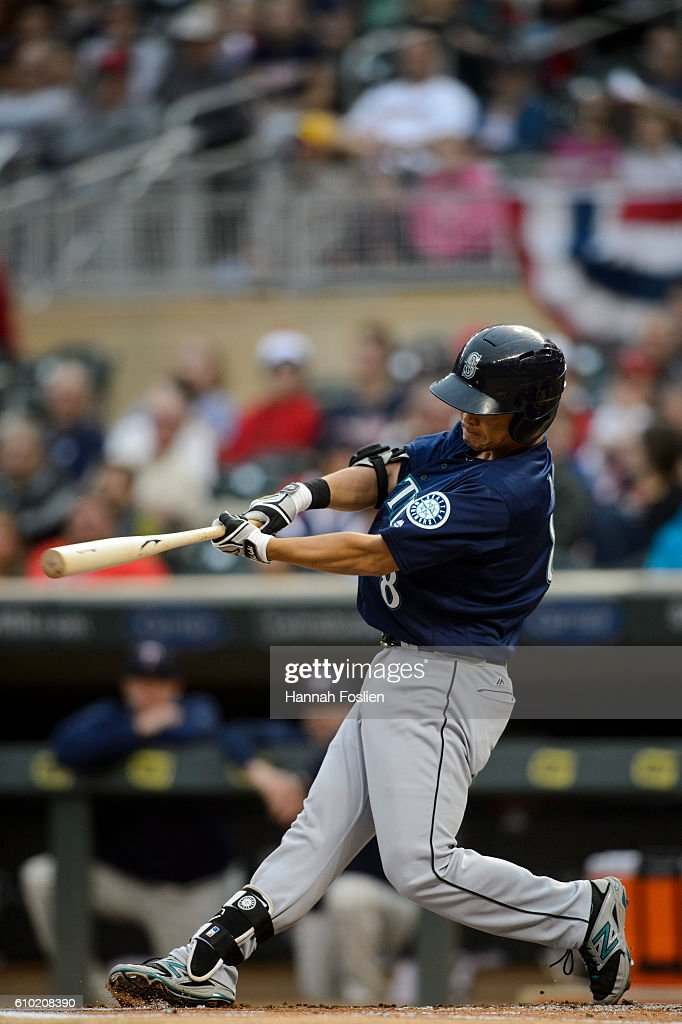 Norichika Aoki #8 of the Seattle Mariners takes an at bat against the Minnesota Twins during the first inning of the game on September 24, 2016 at Target Field in Minneapolis, Minnesota. The Twins defeated the Mariners 3-2.