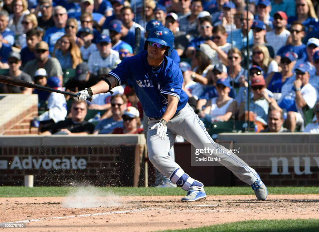 Norichika Aoki #23 of the Toronto Blue Jays bats against the Chicago Cubs during the ninth inning on August 18, 2017 at Wrigley Field in Chicago, Illinois. The Cubs defeated the Blue Jays 7-4.