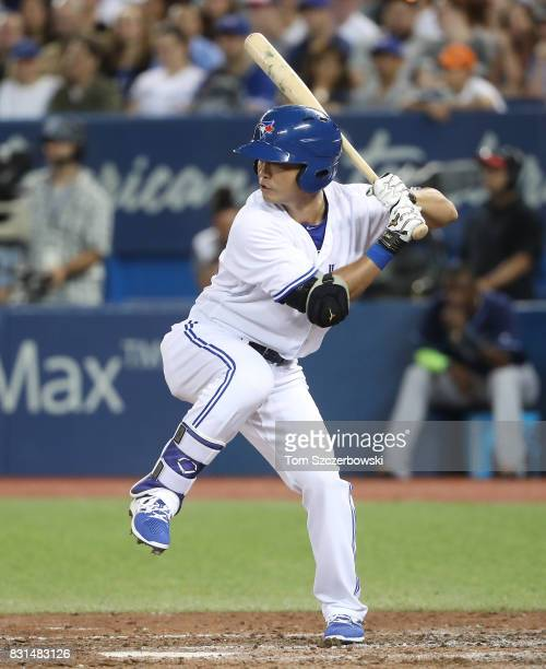 Norichika Aoki of the Toronto Blue Jays bats as he pinchhits in the seventh inning during MLB game action against the Tampa Bay Rays at Rogers Centre...
