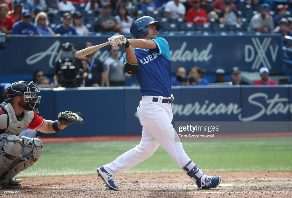 Norichika Aoki #23 of the Toronto Blue Jays flies out in the ninth inning during MLB game action against the Minnesota Twins at Rogers Centre on August 27, 2017 in Toronto, Canada.
