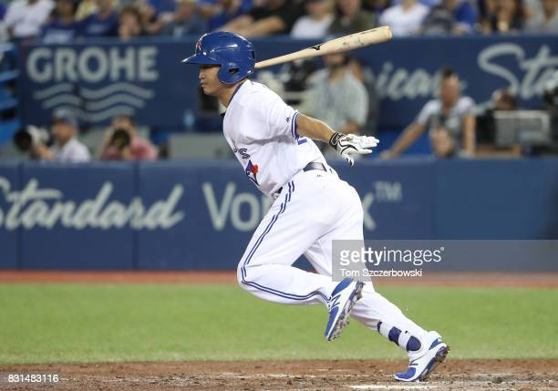 Norichika Aoki of the Toronto Blue Jays grounds out as he pinchhits in the seventh inning during MLB game action against the Tampa Bay Rays at Rogers...