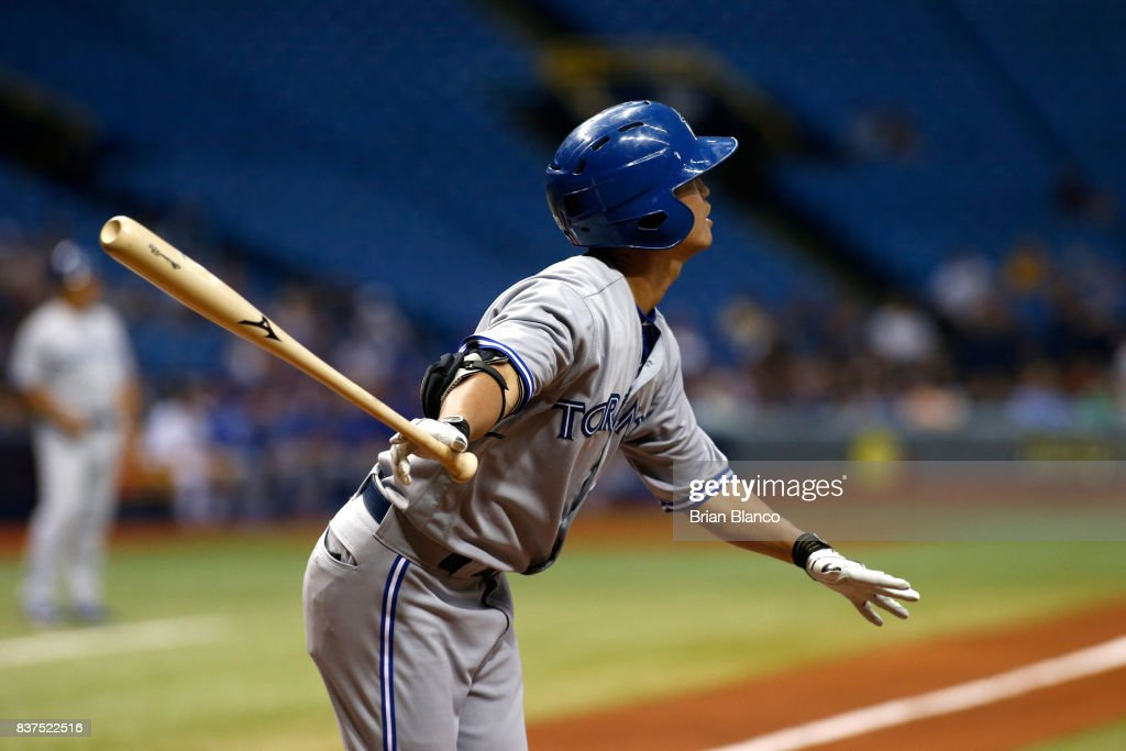 Norichika Aoki #23 of the Toronto Blue Jays hits a home run off of pitcher Chris Archer of the Tampa Bay Rays during the first inning of a game on August 22, 2017 at Tropicana Field in St. Petersburg, Florida.