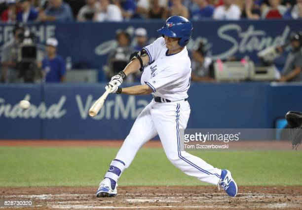 Norichika Aoki of the Toronto Blue Jays hits a single in the sixth inning during MLB game action against the New York Yankees at Rogers Centre on...