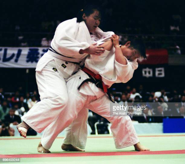 Noriko Anno and Yukari Asada compete in the final during the All Japan Women's Judo Championship at Aichi Prefecture Budokan on April 18 1995 in...