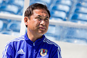 Norio Sasaki coach of Japan during the Women's Algarve Cup match between Japan and Iceland at Estadio Algarve on March 11 2015 in Faro Portugal