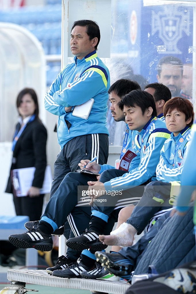 Norio Sasaki, coach of Japan looks on during the Algarve Cup 2014 match between Japan and Sweden on March 10, 2014 in Loule, Portugal.