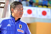 Norio Sasaki coach of Japan looks on during the Women's Algarve Cup match between Japan and France on March 9 2015 in Parchal Portugal