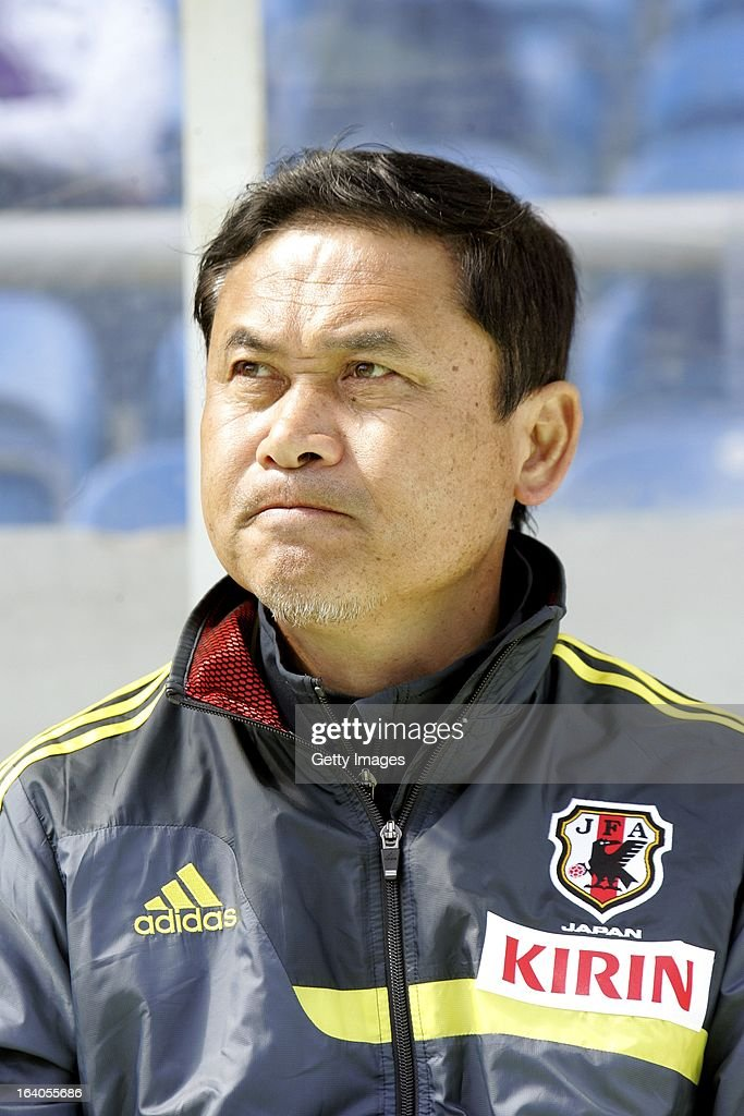 <a gi-track='captionPersonalityLinkClicked' href=/galleries/search?phrase=Norio+Sasaki+-+Soccer+Coach&family=editorial&specificpeople=5488586 ng-click='$event.stopPropagation()'>Norio Sasaki</a>, Head Coach of Japan during the Algarve Cup 2013 fifth place match at the Estadio Algarve on March 13, 2013 in Faro, Portugal.