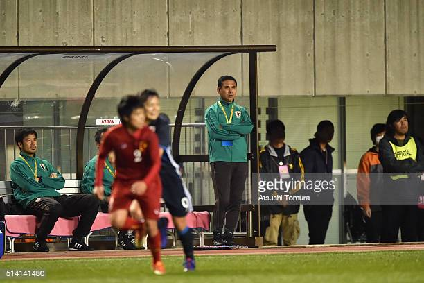 Norio Sasaki head coach of Japan looks on during the AFC Women's Olympic Final Qualification Round match between Vietnam and Japan at Kincho Stadium...