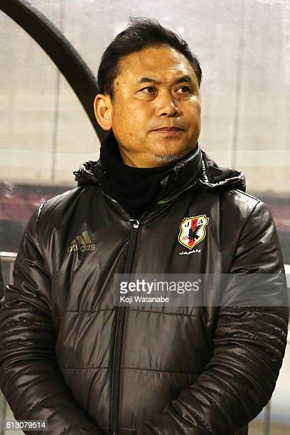 Norio Sasaki head coach of Japan looks on prior to during the AFC Women's Olympic Final Qualification Round match between Australia and Japan at...