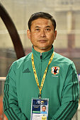 Norio Sasaki head coach of Japan looks on prior to the AFC Women's Olympic Final Qualification Round match between Vietnam and Japan at Kincho...
