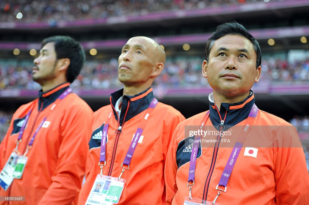 Norio Sasaki, head coach of Japan ponders during the Olympic womens final match between USA and Japan on day 13 of the London 2012 Olympic Games at Wembley Stadium on August 9, 2012 in London, England.