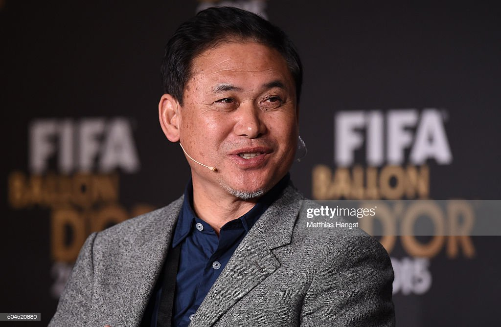 <a gi-track='captionPersonalityLinkClicked' href=/galleries/search?phrase=Norio+Sasaki+-+Soccer+Coach&family=editorial&specificpeople=5488586 ng-click='$event.stopPropagation()'>Norio Sasaki</a>, head coach of the Japan women national football team speaks to the media during the FIFA Ballon d'Or Gala 2015 at the Kongresshaus on January 11, 2016 in Zurich, Switzerland.