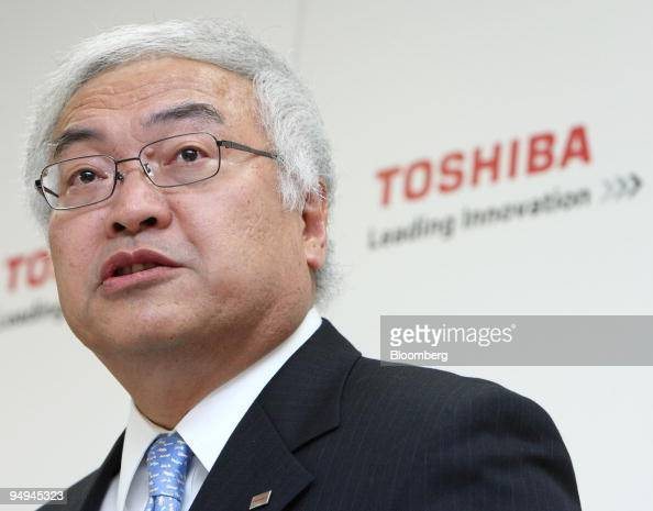 Norio Sasaki newly named president of Toshiba Corp speaks during a news conference in Tokyo Japan on Wednesday March 18 2009 Toshiba Corp Japan's...