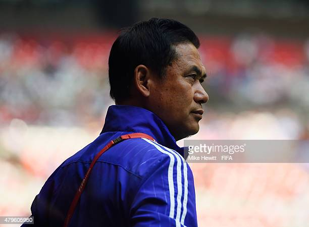 Norio Sasaki of Japan looks on during FIFA Women's World Cup 2015 Final between USA and Japan at BC Place Stadium on July 5 2015 in Vancouver Canada