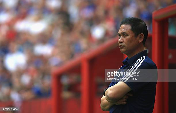 Norio Sasaki of Japan looks on during the FIFA Women's World Cup 2015 Final between USA and Japan at BC Place Stadium on July 5 2015 in Vancouver...