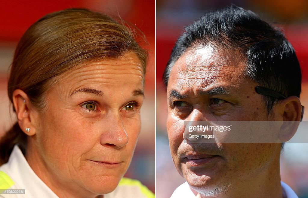 (FILE PHOTO - Image Numbers 478998092 (L) and 478796932) In this composite image a comparison has been made between Head coach Jill Ellis of the U.S and Head Coach Norio Sasaki of Japan. USA and Japan meet in the FIFA Women's World Cup 2015 Final on July 5, 2015 at the BC Place Stadium,Vancouver,Canada. EDMONTON, AB - JUNE 27: Norio Sasaki of Japan looks on prior to the FIFA Women's World Cup Canada 2015 Quarter Final match between Australia and Japan at Commonwealth Stadium on June 27, 2015 in Edmonton, Canada.