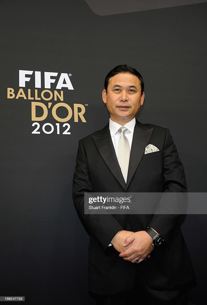 Norio Sasaki of Japan poses for photographs on the red carpet during the FIFA Ballon d'Or Gala 2012 at the Kongresshaus on January 7, 2013 in Zurich, Switzerland.