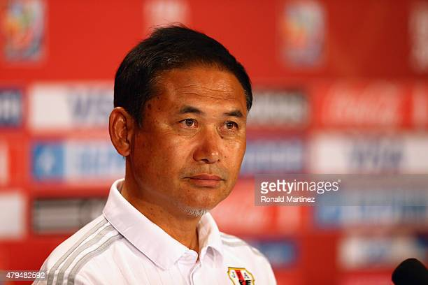 Norio Sasaki of Japan speaks with the media during a press conference prior to the FIFA Women's World Cup Canada 2015 Final between United States and...