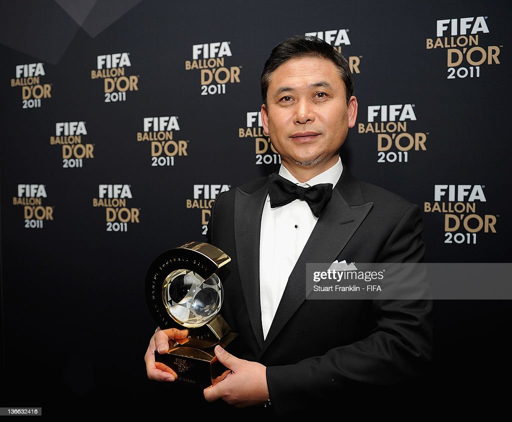 Norio Sasaki of Japan with his trophy after winning the FIFA World Coach of the Year for Women's Football award at the FIFA Ballon d'Or Gala 2011 at the Kongresshaus on January 09, 2012 in Zurich, Switzerland.