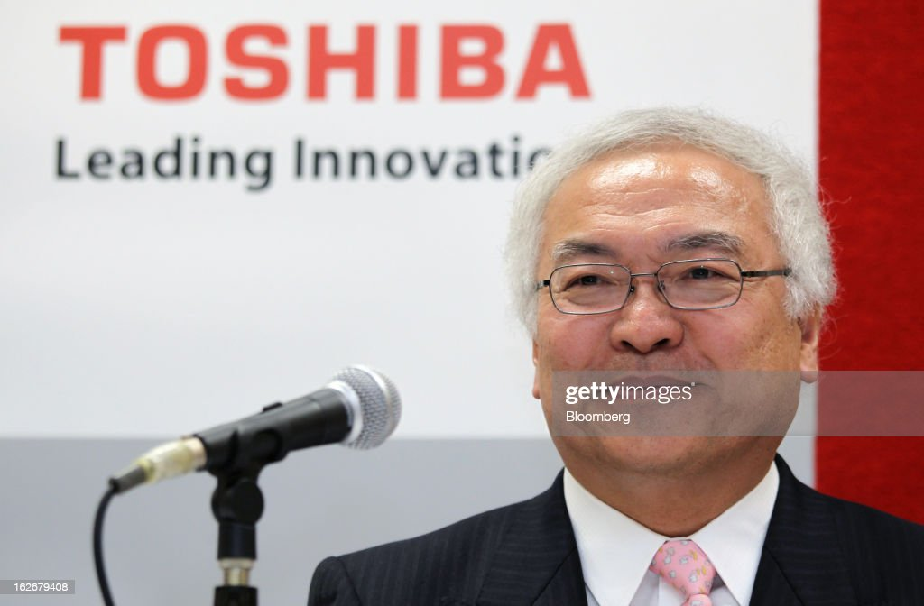 Norio Sasaki, president and chief executive officer of Toshiba Corp., attends a news conference in Tokyo, Japan, on Tuesday, Feb. 26, 2013. Toshiba, the Japanese maker of flash-memory chips, elevators and nuclear reactors, said Hisao Tanaka will take over as president in June as it tries to bolster growth from energy and chip operations. Photographer: Junko Kimura/Bloomberg via Getty Images