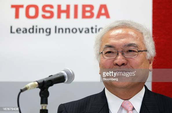 Norio Sasaki president and chief executive officer of Toshiba Corp attends a news conference in Tokyo Japan on Tuesday Feb 26 2013 Toshiba the...