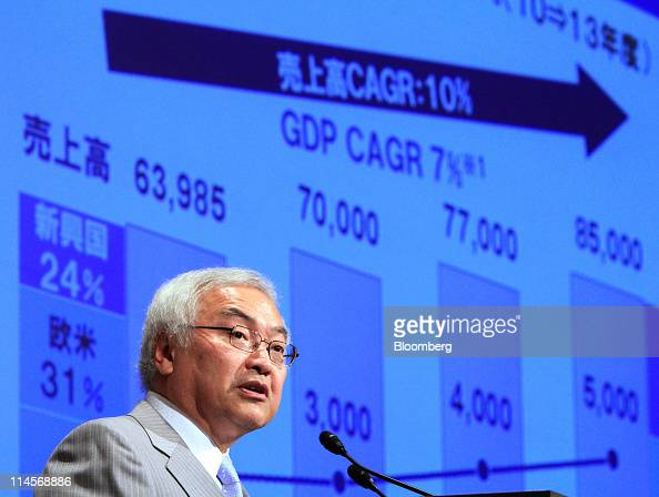 Norio Sasaki president and chief executive officer of Toshiba Corp speaks during a news conference in Tokyo Japan on Tuesday May 24 2011 Toshiba Corp...