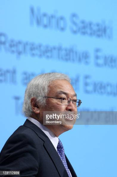 Norio Sasaki president and chief executive officer of Toshiba Corp speaks during a news conference in Tokyo Japan on Wednesday Aug 31 2011 Sony Corp...
